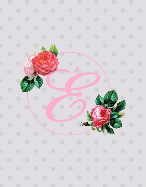 Zwei Rosen und in der Mitte ein E