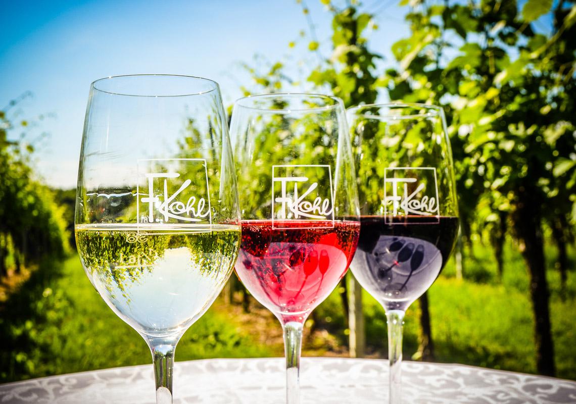 3 Weingläser auf Tisch im Weingarten