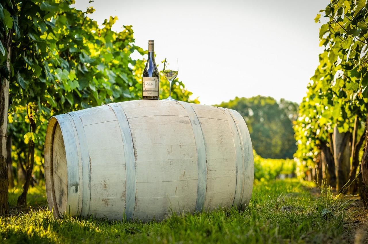 Zweigelt Rotwein auf Weinfass